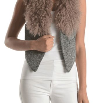 This soft knit cardigan vest features detachable light mocha color mongolian lamb fur collar,cropped back, sleeveless, two side pocket, and finish with an eye hook closure at front. Fully lined.