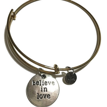 Believe in Love bangle, Live bangle, Love Charm, Laugh bracelet, Love Bracelet, peace and love, Initial Bracelet, Birthstone, live laugh