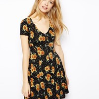 ASOS Skater Dress in Sunflower Print