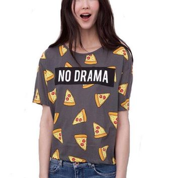 NO DRAMA Women Tee - Pizza Graphics T-shirt