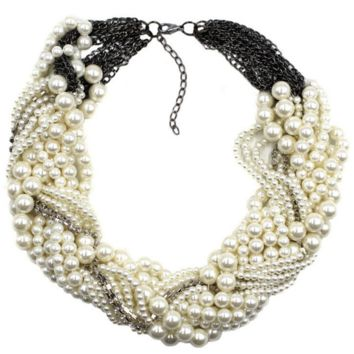 New pearl necklace multi - layer personality shiny necklace personalized jewelry