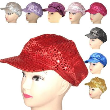 Sparkly Sequin Newsboy Cap Diva Hat Disco Rave Girls Costume visor beret cap