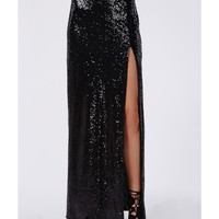 Missguided - Angelic Sequin Split Maxi Skirt Black
