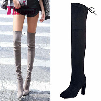 fa153d421a2 Faux Suede Slim Boots Sexy over the knee high women snow boots women s  fashion winter thigh