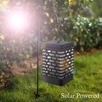 LED Flickering Flame Outdoor Solar Light Hanging Lantern Lamp