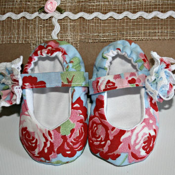 Cath Kidston | fabric | baby | Mary Jane | crib shoes | slippers | 3m - 6m | Handmade | babies | shower gifts