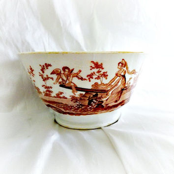 Antique English Transferware Lusterware Bowl w Cupid ca 1820