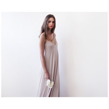 Champagne maxi straps basic dress 1026