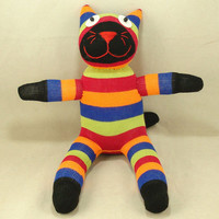 Free Shipping Handmade Sock Cat Kitty Stuffed Animal Doll Baby Toys Gift
