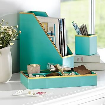 Printed Paper Desk Accessories Set- Solid Pool With Gold Trim