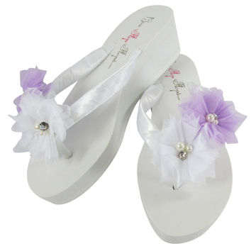 Bridesmaid , Bride Flip Flops: White with Lavender Pearl Flowers