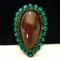 Art Deco Brooch Amber Cabochon Aqua & Green Glass Rhinestone Japanned Black Vintage Pin