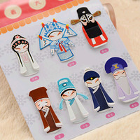 Beijing opera bookmark,7-in-1 chinese paper book mark