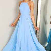 Classic High Neck Gown Blue