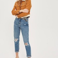 MOTO Mid Blue Ripped Mom Jeans - Jeans - Clothing
