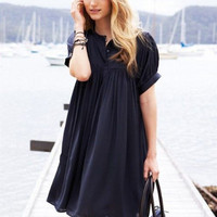 Black Puff Sleeve High Waist Dress