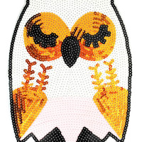 XXL Extra Large Beautiful 27cm Sequins Owl Patch Applique
