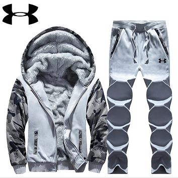 """Under Armour"" PRINT HOODIE THICK KEEP WARM TOP AND PANTS TWO PIECE SUIT Light grey"