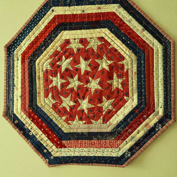 QUILTED AMERICANA PATRIOTIC Octagon table runner, candle mat for Patriotic Home Decor'