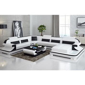 Grand Black & White Sectional Sofa For Living Room