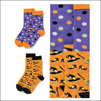 Set of Two Pair of Halloween Socks! Halloween Witch, Hat & Broom and Halloween Dots!