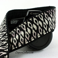 Black & White Ikat dSLR Camera Strap, Batik, Tribal, SLR,149 w