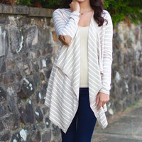 Striped Waterfall Cardi with Suede Elbow {Oatmeal}