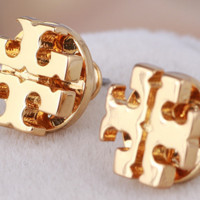 Tory burch fashion classic letter metal earrings for women