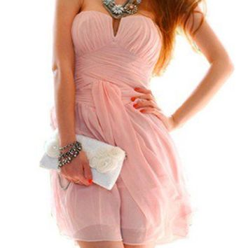 Sweet PINK Strapless Cocktail Party Club evening Races Dress V Neck S M L