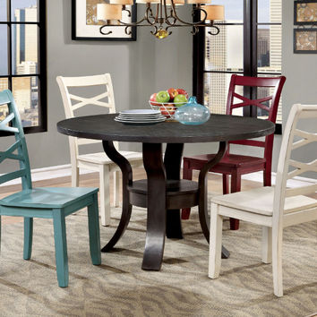 "Furniture of america CM3518T-5PC 5 pc Gisela espresso finish wood 48"" round dining table set"
