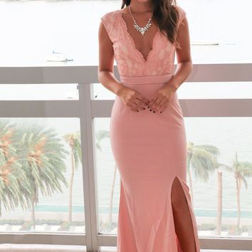 Rose Lace Top Maxi Dress with Side Slit