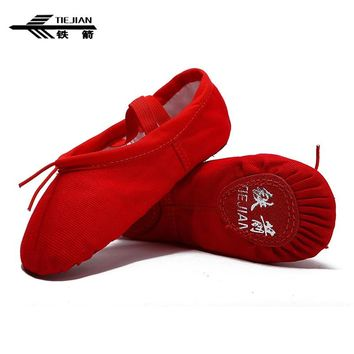 TIEJIAN Ballet Dancing Shoes scarpe ballo For Women Soft Canvas Non-slip Flats Yoga Sneakers Kids Girls Ladies Practice Slippers