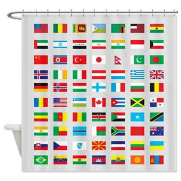 World Flags Shower Curtain - Patriotic  Flag, Countries,  travel - Home Decor - Bathroom