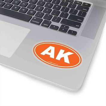 Alaska AK Euro Oval Sticker ORANGE SOLID