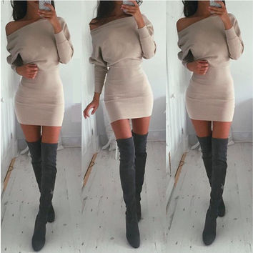 Oblique Package Hip Slim Long-Sleeve Dress