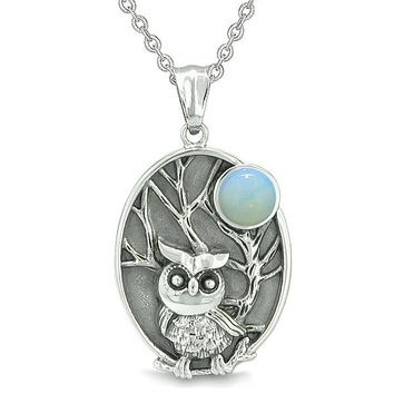 """Amulet Owl and Wild Woods Magic Moon Charm Opalite Crystal Pendant on 18"""" Necklace"""
