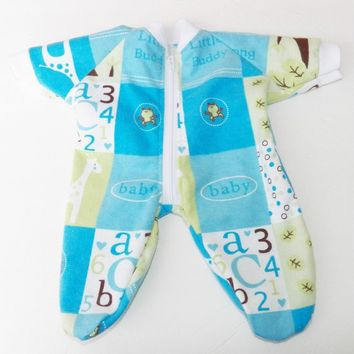 BOY DOLL CLOTHES, Blue Giraffe Pajamas for Bitty Baby Doll