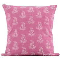 "16"" Pink Bud Hand Block Print Cotton Toss Pillow Case"