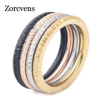 ZORCVENS 2018 New Wedding Band Rings Set For Men/Women Classic Jewelry Four Colors Stainless steel Rings