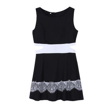 Women Sleeveless Mini Dress Hollow-out Dresses Lace Bodycon Club Party Sundress