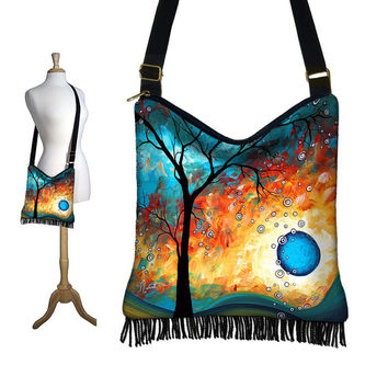 NEW Hippie Crossbody Bag, Fringe Hobo Purse, Cross Body Shoulder Bag, Boho Sling Bag, MADART Aqua Burn, blue orange black   (RTS)
