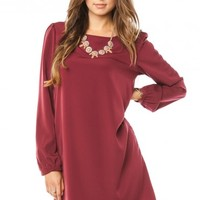 MIDDLEWAY SHIFT DRESS IN BURGUNDY