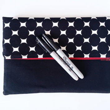 Mod Black & White Dot Slouchy Zipper Clutch Bag With Red Zipper And Lining