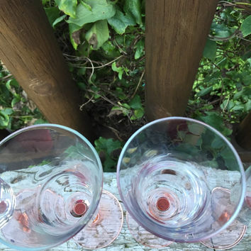 Vintage Flared Pink stemmed champagne flutes / glasses, 10 available, vintage glassware for wedding shower luncheon brunch toasting, pink