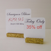 Gold Glitter Retail  and Trade Show Sign Holder