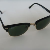 Ray Ban Clubmaster Sunglasses 3016 W0365 Black with gold and Green Lens 51 mm