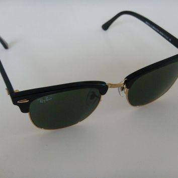 Cheap Ray Ban Clubmaster Sunglasses 3016 W0365 Black with gold and Green Lens 51 mm outlet