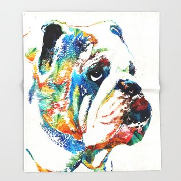 Bulldog Pop Art - How Bout A Kiss - By Sharon Cummings Throw Blanket by Sharon Cummings