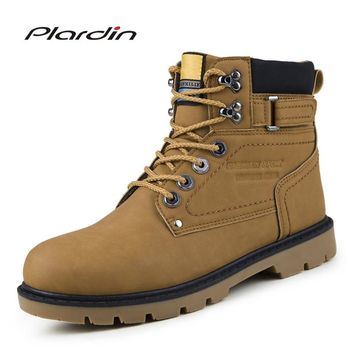 Plardin New Winter High army boots Fashion Platform Sewing Patent leather Boots Carved Oxford Lace-Up Men Hook&Loop Shoes