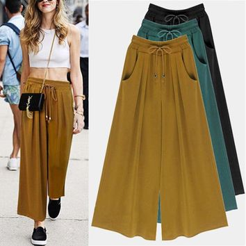 Women Casual Palazzo High Waist Wide Leg Culottes Trousers Loose Pants Plus Size